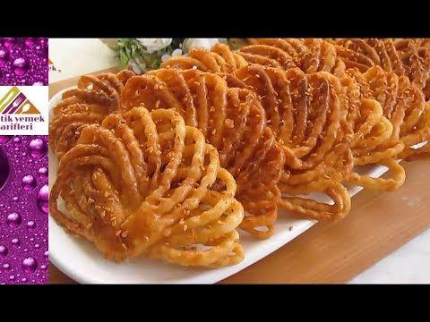 Şerbetli Tatlılardan Yelpaze Şeklinde Griwech Qariosh Tarifi Pratik Yemek Tarifleri - YouTube