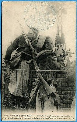 """WWI: """"Sharp shooters installing a mitrailleuse in a cemetery."""""""