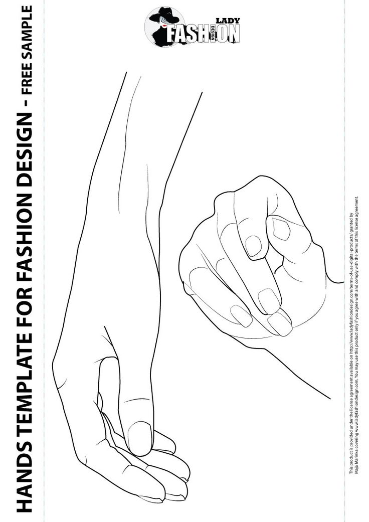 female hands template for fashion design  includes two