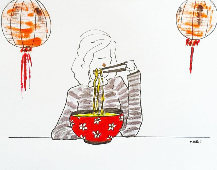 Ramen girl by Marta Scupelli • www.stripe-me.com