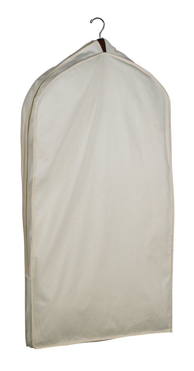 """Acid-Free Muslin Suit Bag 42. Dimensions: 42"""" x 24"""" x 4"""". Includes: 17 3/4"""" Muslin padder hanger, acid-free tissue, ID tag, White gloves. Acid-free 100% cotton muslin. Room for several garments. Comes in reusable packaging of a cotton bag."""