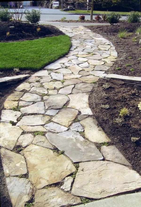un sentier en pierre magnifique, allée de jardin décorative en galets