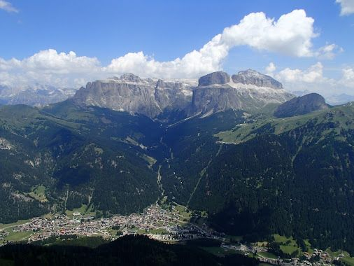 Canazei (Trento, Italia) landscape of the route in Dolomites Sky Race