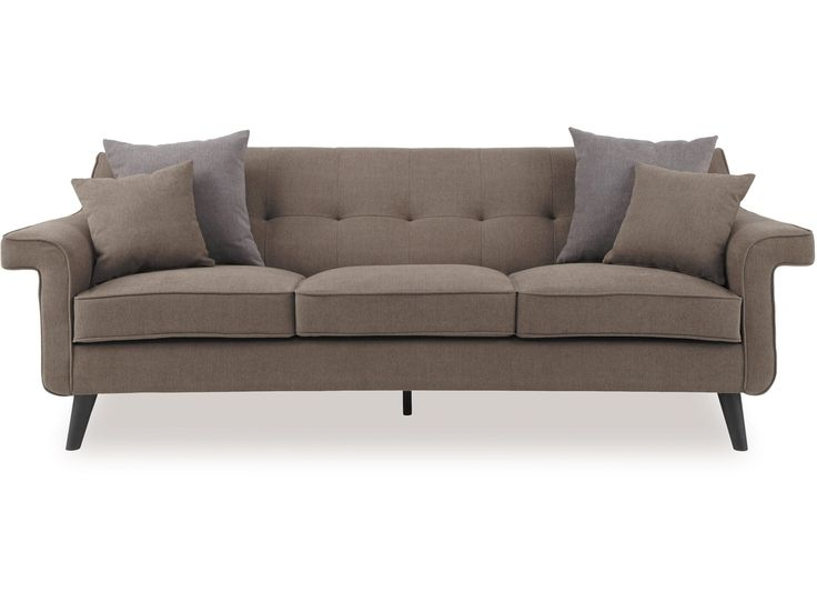 The Draper Lounge Suite is an eye-catching design sure to transform any living space. The sculpted frame, flared arms and tufted seat back offer a delicate style for your home. Available in Dallas Grey/Brown fabric, the Draper Lounge Suite is an excellent choice for the family home.