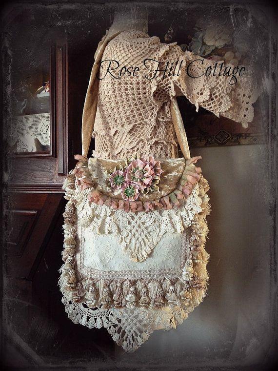 Romantic Shabby Chic  Wedding or Prairie Bag by RoseHillCottage1, $165.00