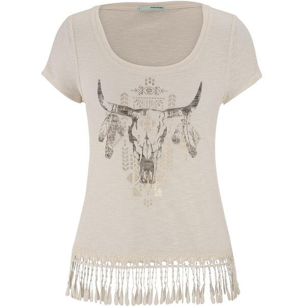 maurices Graphic Tee With Metallic Shimmer And Lace Hem ($22) ❤ liked on Polyvore featuring tops, t-shirts, beige, lace top, short sleeve t shirts, scoop neck tee, short sleeve tees and metallic gold t shirt