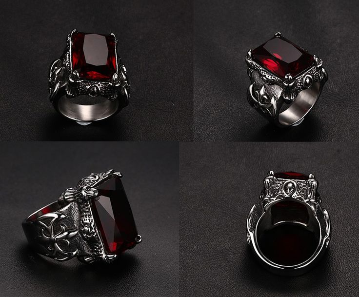2016 new Punk gothic restoring ancient rings men titanium steel ring with red rhinestone jewelry wholesale * gothic jewelry, gothic rings, gothic jewelry rings, gothic accessories, gothic accessories jewellery, gothic jewelry & accessories