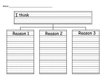 Persuasive Writing Graphic Organizer | Handwriting lines and space for 3 reasons