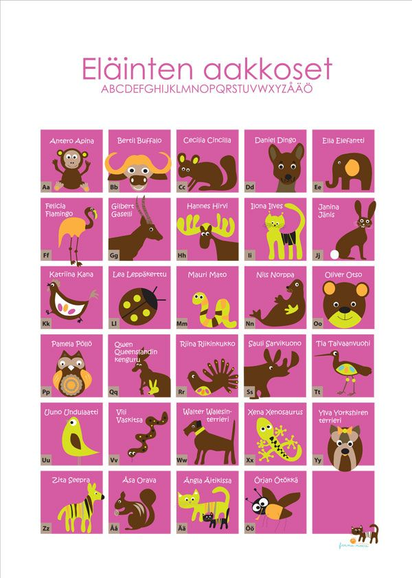 Eläinten aakkoset nyt myös vaaleanpunaisena, turkoosin vaihtoehdon lisäksi!