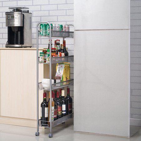 Zimtown 4 Tier Gap Kitchen Slim Slide Out Storage Tower