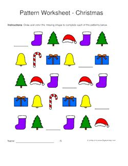 christmas pattern worksheets for kids 1 2 3 pattern draw and color