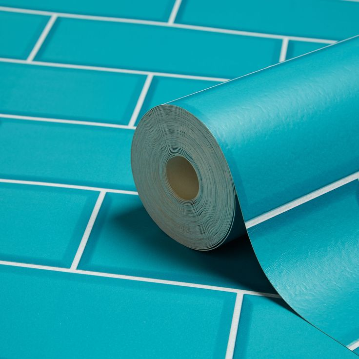 Fine Décor Ceramica Teal Subway Tile Wallpaper | Departments | DIY at B&Q