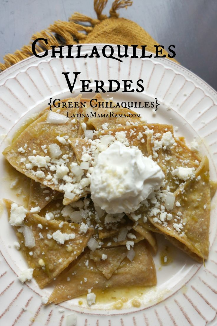 Baked Chilaquiles Verdes. One of my favorite meals. I'd add shredded chicken to the green salsa before cooking down the chips. Yum!