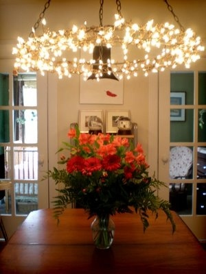 I took a regular extension cord, cut off the plug, stripped the wires and hardwired it into the ceiling. I bought a ceiling plate at Lowe's and screwed four eyelet screws into it so that I had something to hang the black chandelier chains from (also bought at Lowe's). From the chains, I hung two 3' wreath frames together with floral wire, then finally wrapped brown Christmas lights (which were the hardest to find) around the frame and plugged them into the extension cord which I hid inside