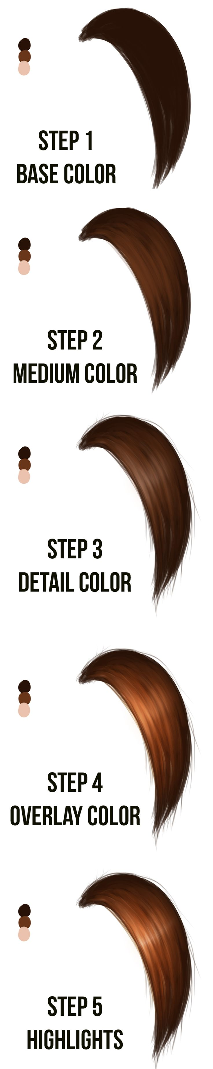 Tip: Drawing Realistic Hair | Concept Cookie Helpful to get to see the order in which colors were applied.