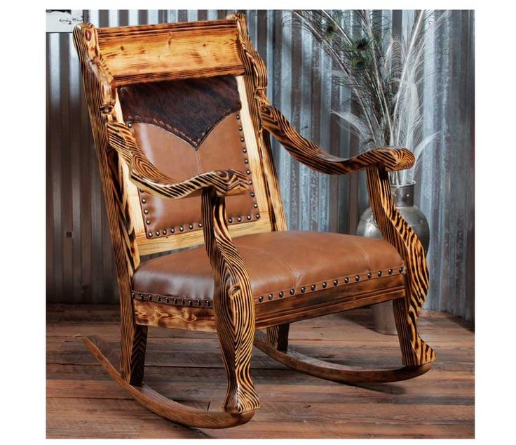 Pines Rocker  Leather, Pine and Products