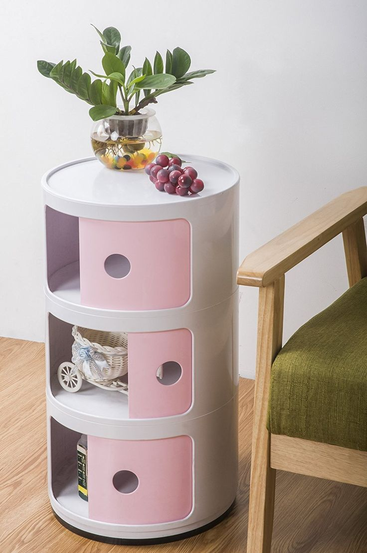 Merax 12.6x12.6x23.03-Inch Contemporary Storage Cabinet, Pink * More info could be found at the image url.