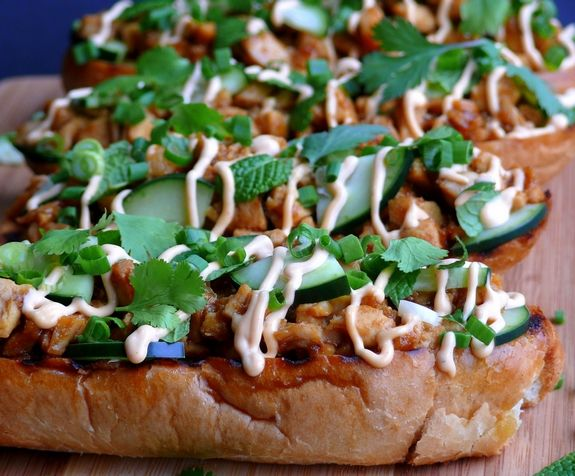 Open Faced Thai Chicken Sandwiches: Rotisserie chicken, layered on bread with cucumbers, mint, green onions, roasted peanuts, cilantro and then a Chili-Garlic Mayo to top it off. It just all works together so nicely, you'll make it all the time!