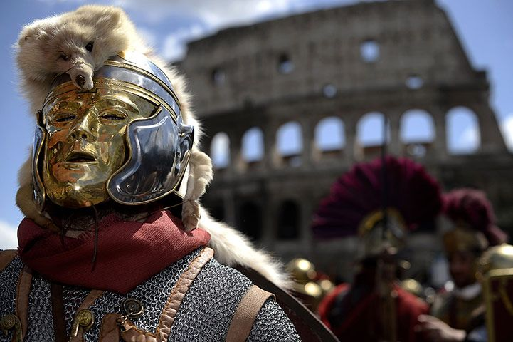 Historical groups dressed as ancient Romans marched through downtown Rome on April 21 to commemorate the foundation of the city, which the ancient Romans dated to the same day in 753 BC.