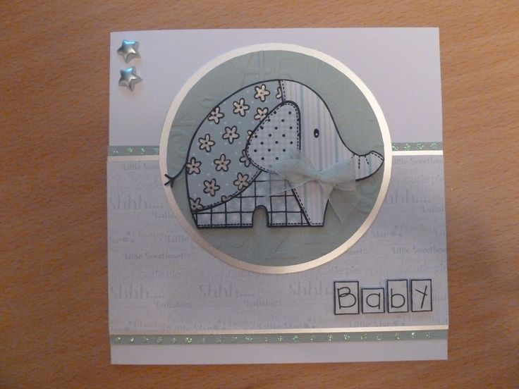Made using Woodware patchwork baby elephant stamp