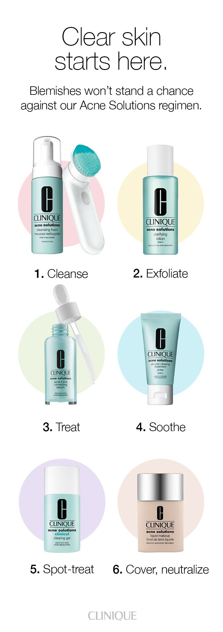 How to treat acne: Blemishes won't stand a chance against our Acne Solutions regimen. It's clinically proven on men and women to fight active blemishes. You'll see a 37% improvement in 3 days—and it just keeps getting better. Clear skin starts here.