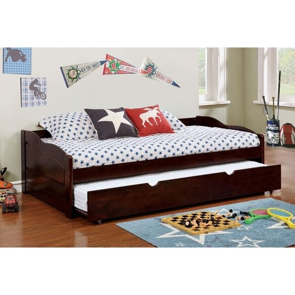Furniture of America Bowiea Transitional Wooden Daybed with Twin Trundle