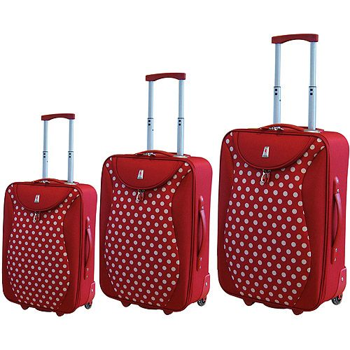 rockland pink 4 piece luggage set with white polka dots. Black Bedroom Furniture Sets. Home Design Ideas