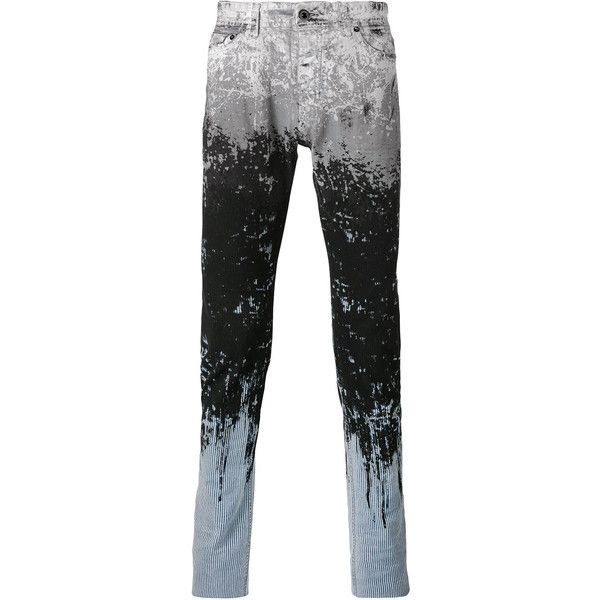 Diesel Black Gold paint splat and stripe skinny jeans ($460) ❤ liked on Polyvore featuring men's fashion, men's clothing, men's jeans, black, mens stretch jeans, mens skinny jeans, mens stretch skinny jeans, mens zipper jeans and mens button fly jeans