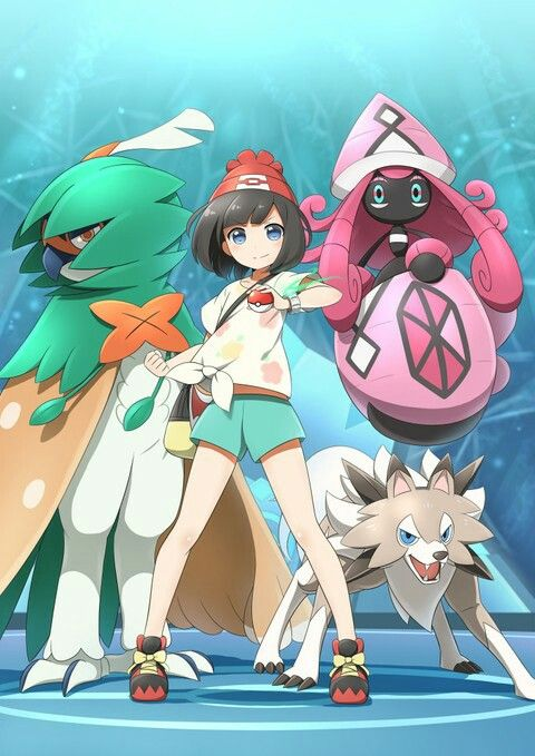 The trainer with Tapu lele and decidueye and lycanroc
