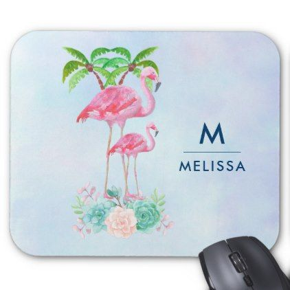 Pink Flamingo Momma & Baby with Palm Trees Custom Mouse Pad - watercolor gifts style unique ideas diy