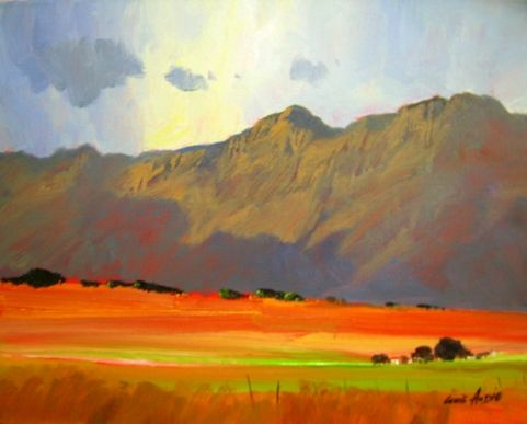 Oil Painting - Day's End Near Swellendam by Louis Audie