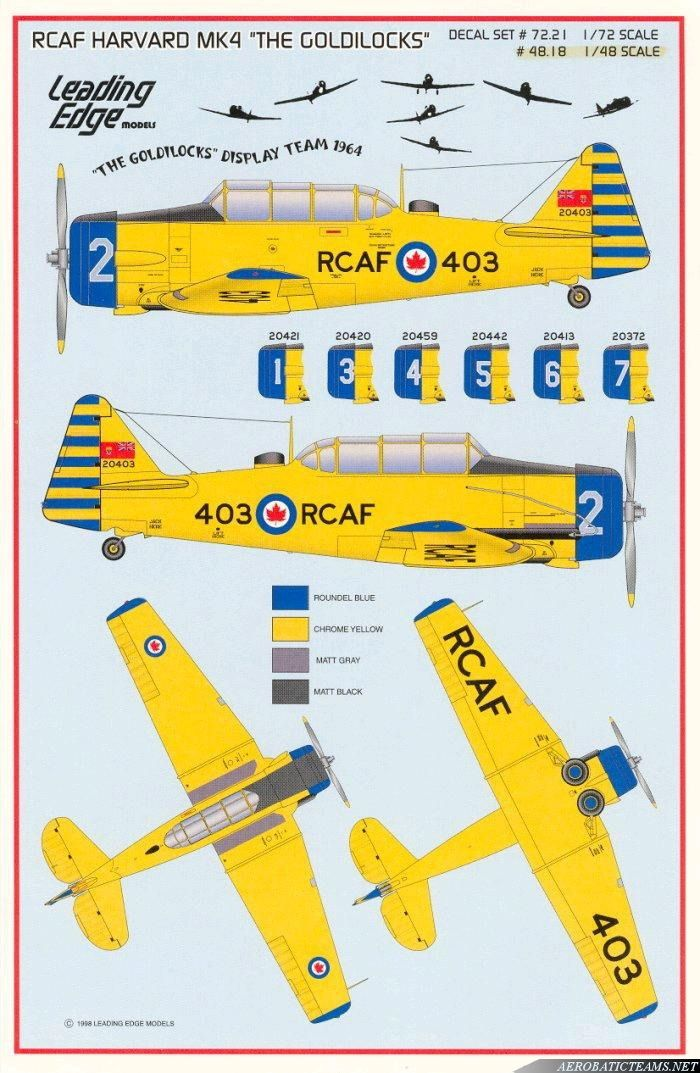 """The """"Goldilocks"""" were a unique Royal Canadian Air Force aerobatic display team.The team was formed in 1962 at the training base in Moose Jaw and were designed as a parody of the famous """"Golden Hawks"""" team.This new aerobatic team was called the """"Goldilocks"""" and flew Harvard piston trainer aircraft.In ..."""