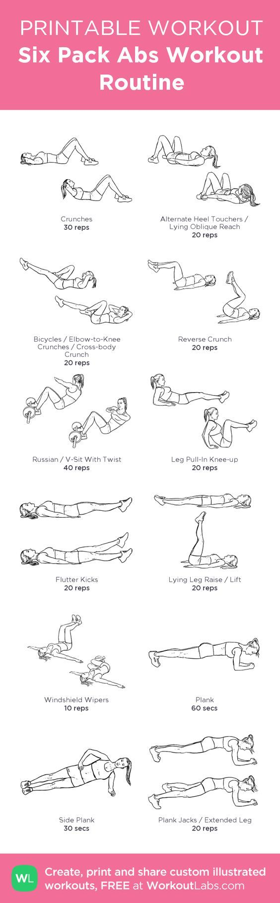 Six Pack Abs Workout Routine: my visual workout created at WorkoutLabs.com…