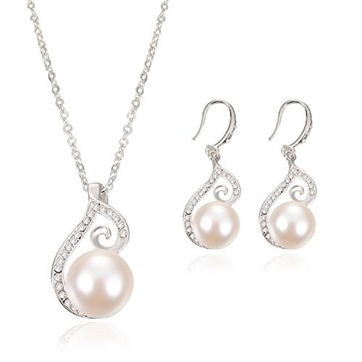 Cheap Woman Jewelry Set Silver Plated Pearl Pendant Necklace Earring #OUFO