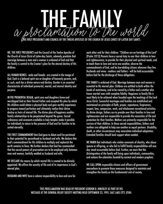 Home Print Family Proclamation 3b 8x10 Printable Family
