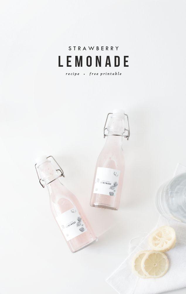 Strawberry Lemonade + Printable - Oh So Pretty