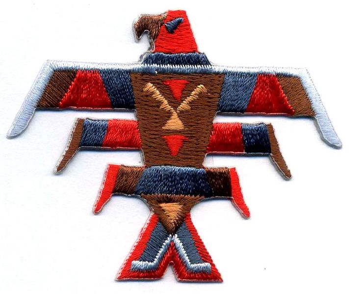 SOUTHWESTERN TOTEM BIRD EMBROIDERED IRON ON PATCH