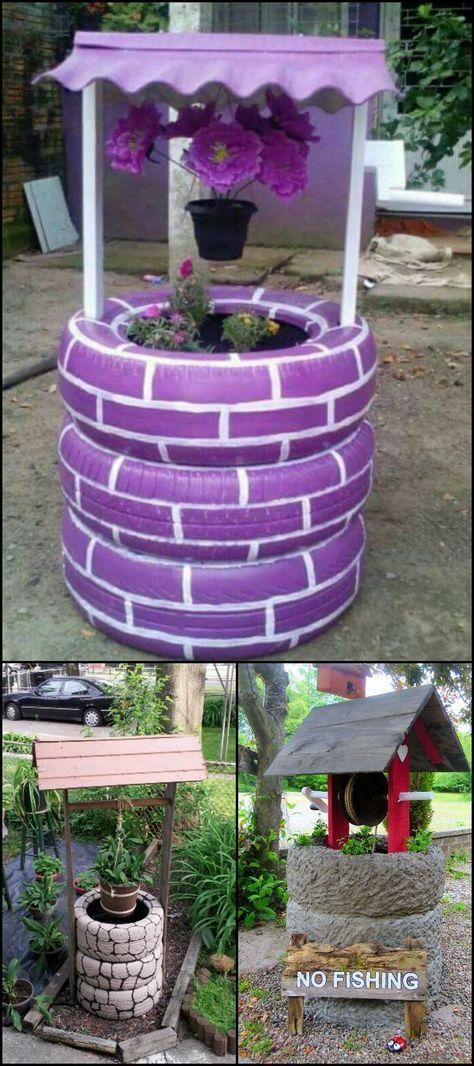 Cette dame peint en blanc 3 pneus! Une fois qu'elle les empile! Vous en voudrez pour votre jardin!