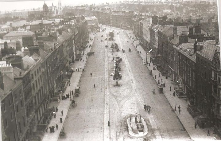 O'Connell Street - looking northwards from the top of Nelson's pillar. Look at all the fine Georgian houses still intact. Prior to 1916 and Civil War.