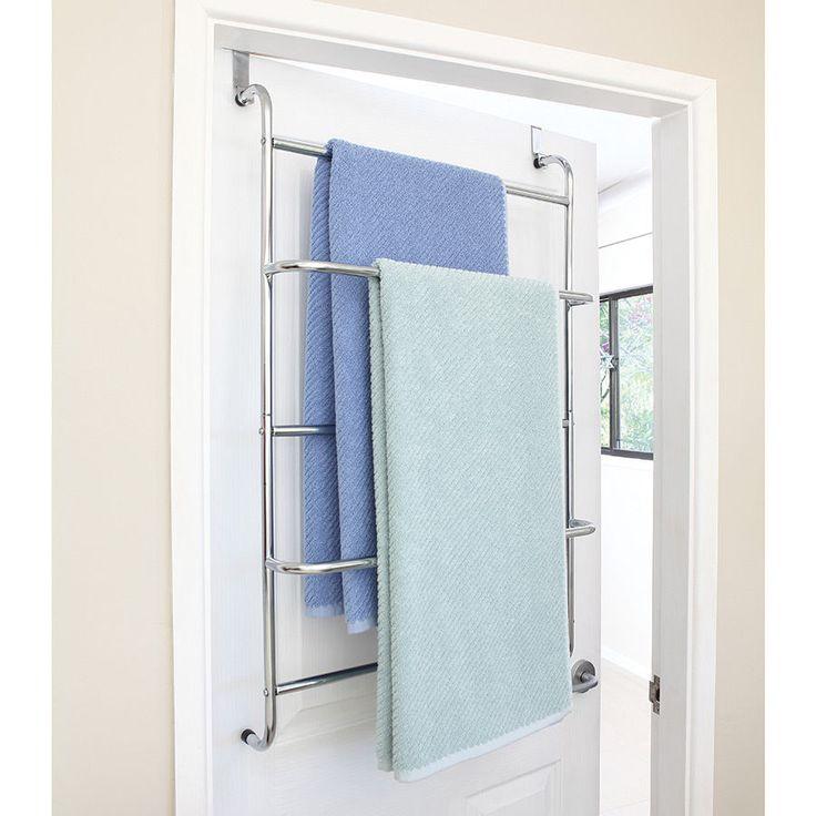 Over Door Towel Rack Chrome Bathroom Storage Rail Shelf