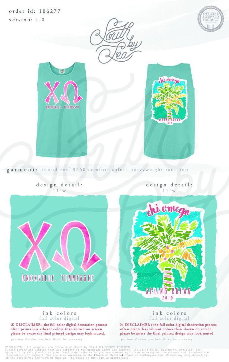 Chi Omega | XO | Spring Break | Tropical Palm Tree Shirt Design | South by Sea | Greek Tee Shirts | Greek Tank Tops | Custom Apparel Design | Custom Greek Apparel | Sorority Tee Shirts | Sorority Tanks | Sorority Shirt Designs