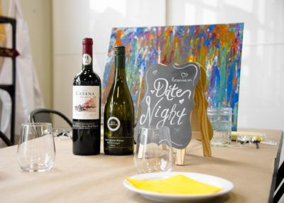 The perfect Date Night! Splatter the night away and enjoy some wine and pizza.