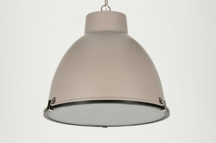 Pendant lamp 71831: industrial look, taupe colored, aluminium, round