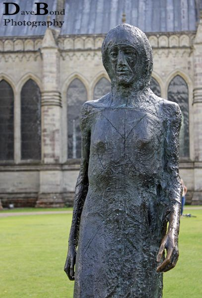 Walking Madonna Sculpture by Elizabeth Frink outside Salisbury Cathedral, Wiltshire