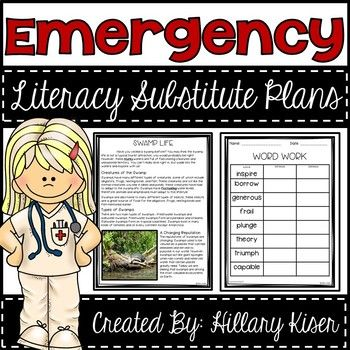 Emergency Sub Plans! (Literacy Grades 3-5)Have you even been in a pickle and had to call in sick at the last minute? I have known teachers that will have to go to the school sick just to write sub plans and go back home! Do not do this to yourself! These are DONE! 10 days of Literacy Sub Plans, ready to print, stack, and leave! (Check out the preview to see more!) Here is how they work!Each day of sub plans includes the following itemsand there are 10 days of these sub plans!Morning Work- A…
