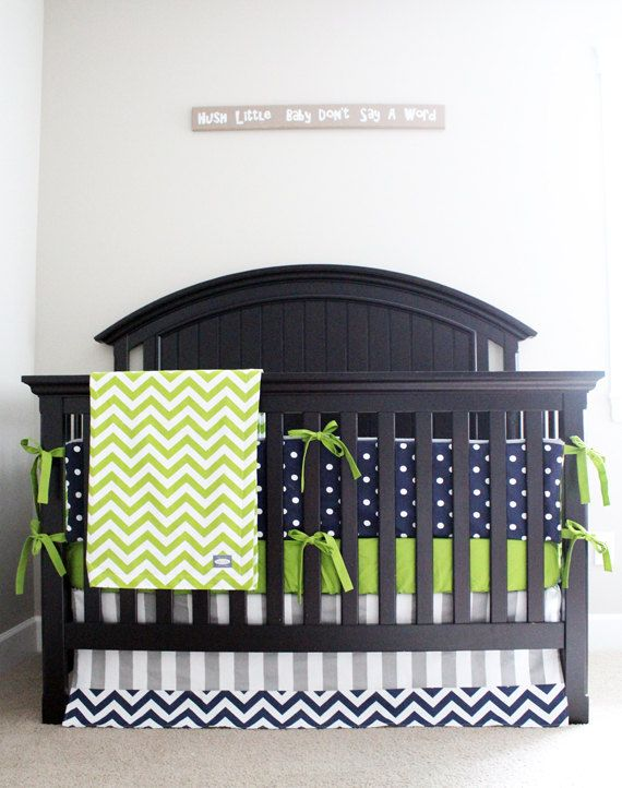 Custom Crib Bedding Lime Green Chevron Navy Blue by GiggleSixBaby,