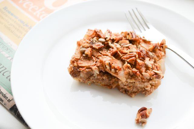 Als de geur van deze overheerlijke gebakken peren crumble jouw kant op komt op de vroege ochtend. Geloof me: instant happiness!