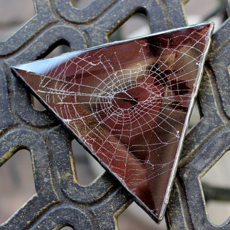 Halloween Spider spiderweb -- real spider web under glass by homestylecharlie on Etsy