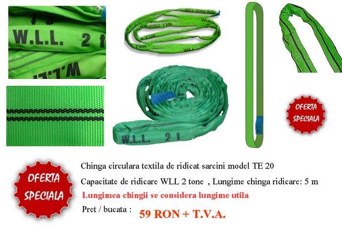 Super oferta !!! Chingi textile de ridicare circulare Capacitate 2 tone , Lungime utila 5 m , Lungime desfasurata 10 m Culoare verde Pret / bucata : 59 lei + T.V.A. Promotia este valabila in limita stocului disponibil!!! http://www.totalrace.ro/promotii.html
