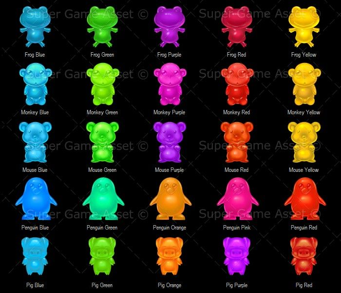 Animal Jelly Candy. Great for puzzle games, casual and social games, contain different animals made into jelly babies, each contain 5 different colours.